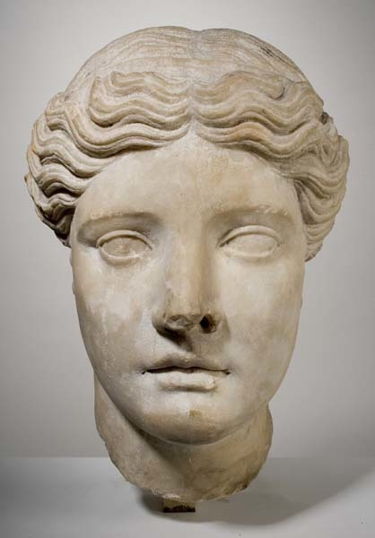 , 'Head of a Goddess,' Classical period-5th century B.C.E., Davis Museum