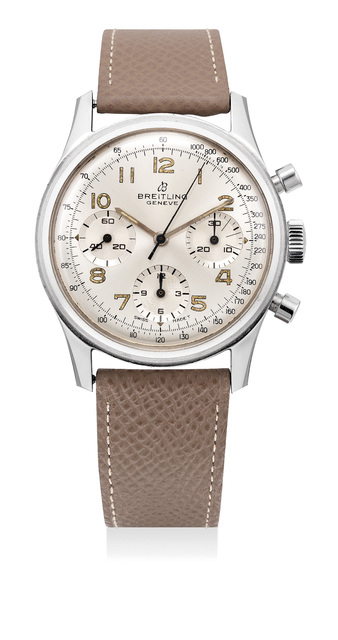 Breitling, 'A fine and rare stainless steel chronograph wristwatch with silvered dial, over-sized luminous Arabic numerals and screw back case', 1967, Phillips