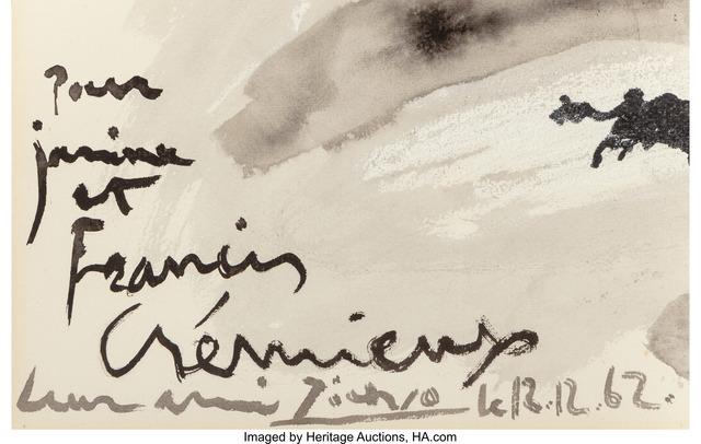 Pablo Picasso, 'Scène de Tauromachie', 1962, Other, Ink, wash and chalk on paper, Heritage Auctions