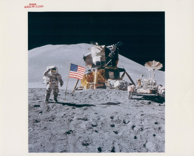 , 'James Irwin salutes by the Lunar Module and Rover, Apollo 15, August 1971,' , Attollo Art
