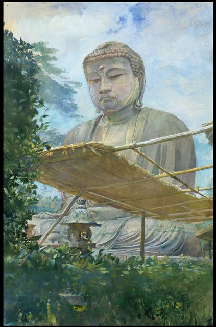 John La Farge, 'The Great Statue of Amida Buddha at Kamakura, Known as the Daibutsu, from the Priest's Garden', 1887, Drawing, Collage or other Work on Paper, Watercolor and gouache on off-white wove paper, The Metropolitan Museum of Art