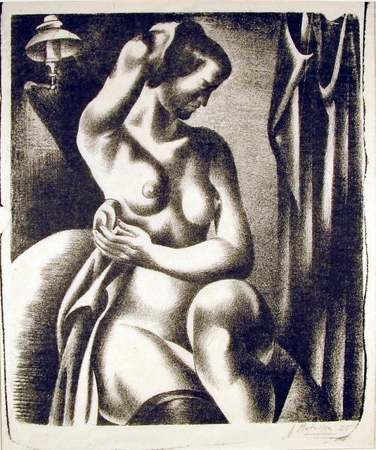 , 'Three-Quarter View of Nude Bathing Seated Near Lamp,' 1925, Harris Schrank Fine Prints