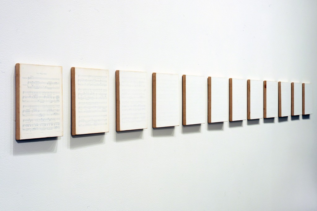 "Tim Rollins and K.O.S., ""Winterreise"" (songs XX-XXIV) (after Schubert), 1988, acrylic, mica on music pages mounted on linen, Tang Teaching Museum collection, gift of Ruth and William S. Ehrlich"