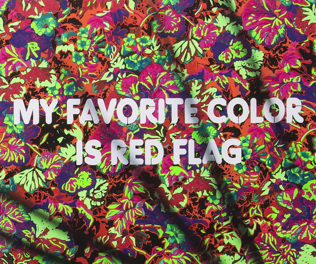 , 'My Favorite Color Is Red Flag,' 2018, River