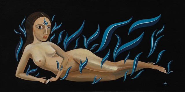 Anne Faith Nicholls, 'Reclining Nude in Cool Blue Flames', 2018, Painting, Acrylic on canvas, Martin Lawrence Galleries