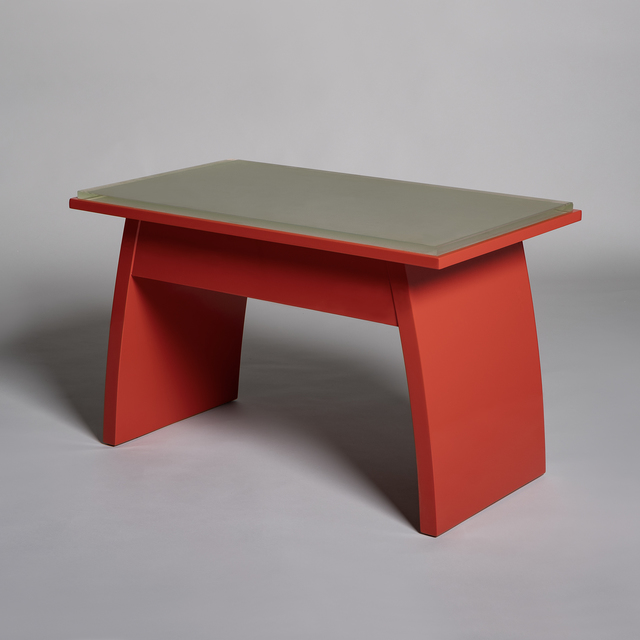 André Sornay, 'Low table in red-lacquered wood', ca. 1930, Design/Decorative Art, Red-lacquered wood and Saint-Gobain sanded glass, Galerie Alain Marcelpoil