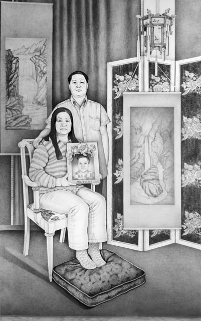 Henna Pohjola, 'Reunion - Portrait of Zhiping Wu and Luoxin Zhu', 2017, Drawing, Collage or other Work on Paper, Pencil on paper, Galleria Heino
