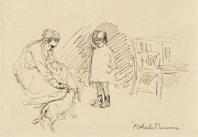 Max Liebermann, 'Spiel im Garten – Maria, die Enkelin des Künstlers mit ihrer Kinderfrau und dem Dackel ihrer Großeltern im Wannseegarten', ca. 1920, Ludorff