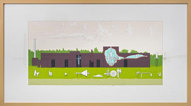 , 'Gjennomskåret fabrikk mot rosa himmel,' 2013, OSL Contemporary
