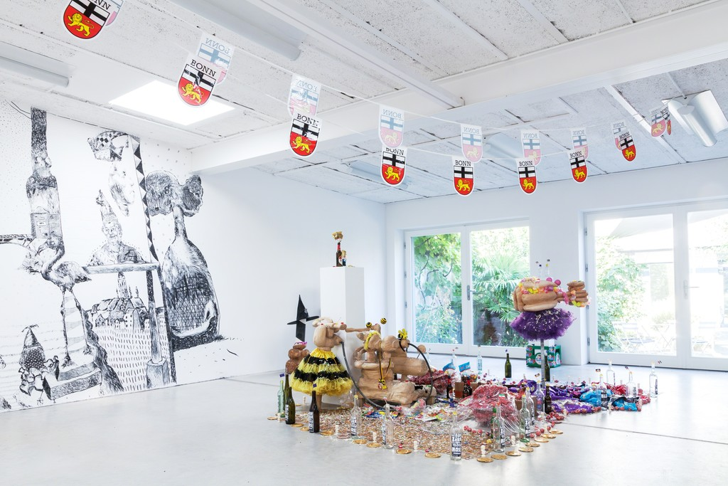 "exhibition view: ""Dat Maache me us de Lameng"", installation by Christoph Mügge (Malmö, Sweden) and Sebastian Mügge (Umea, Sweden)"