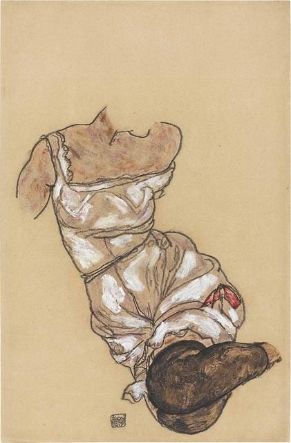 Egon Schiele, 'Weiblicher Torso in Unterwäsche und schwarzen Strümpfen', 1917, Christie's