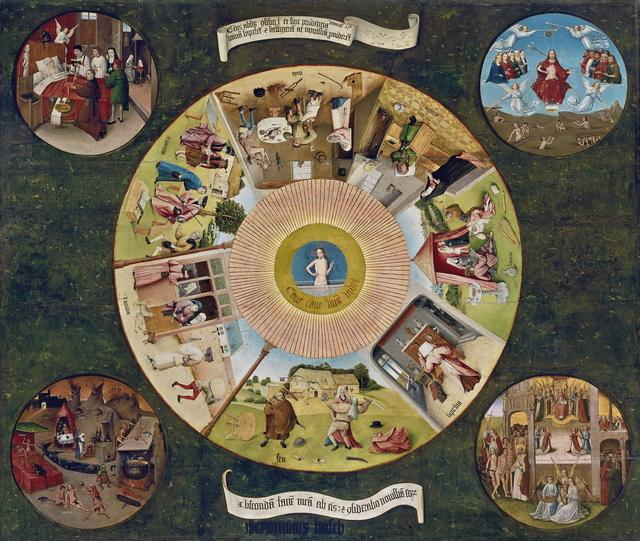 , 'Table of the Mortal Sins,' ca. 1500, Museo Nacional del Prado