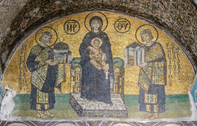 'Madonna and Child, flanked by Emperor Justinian', 10th century C.E., Other, Mosaic, Art History 101