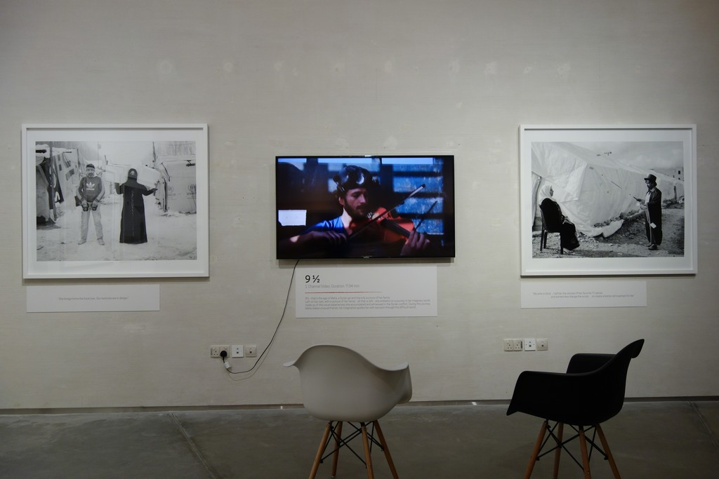 """""""If I Leave, Where Will I Go?"""" Installation shot of Omar Imam's work """"Live, Love, Refugee"""""""
