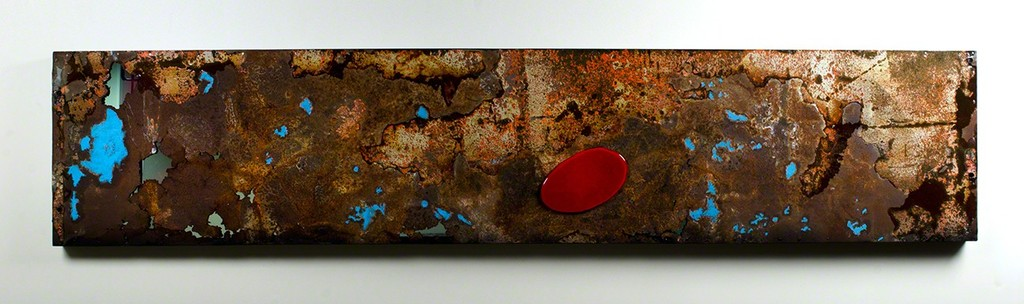 "Gordon Huether / Last Call, Salvaged Steel, Fused Glass, and Fused Glass, 96""W x 20""H x 3""D, 2012"