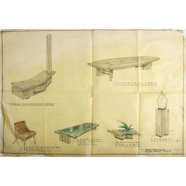 Arthur Klepper, 'Five Furniture Illustrations, New York', 1950s, Rago/Wright