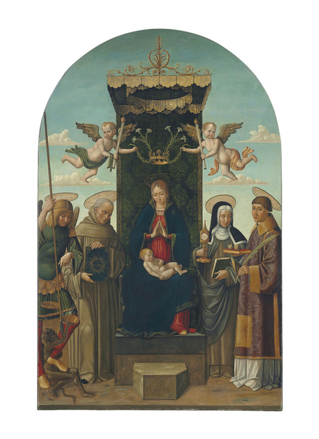 , 'The Madonna and Child enthroned, with Saints Michael, Bernardino of Siena, Clare and Stephen, two angels holding a crown with lilies above,' , Christie's Old Masters