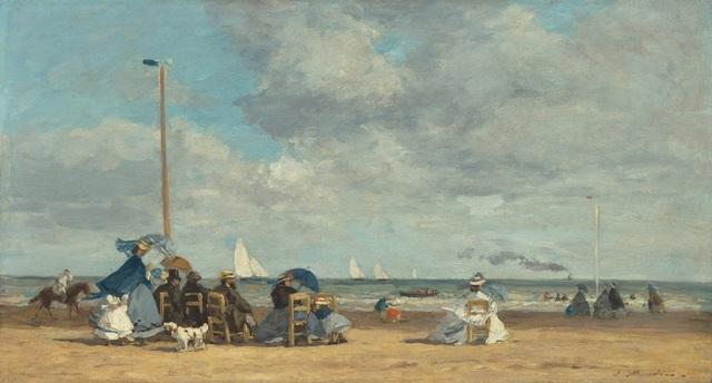 , 'Beach at Trouville,' 1864, Seattle Art Museum