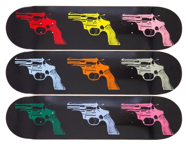 , 'Guns (Limited Edition Skateboard Triptych),' 2015, Alpha 137 Gallery