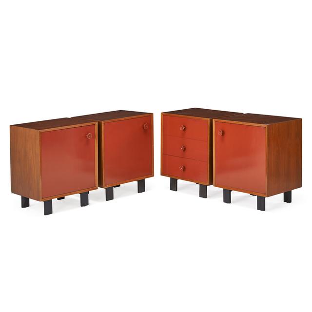 George Nelson, 'Four Cabinets, Zeeland, MI', 1950s, Design/Decorative Art, Walnut, Enameled Wood, Rago/Wright