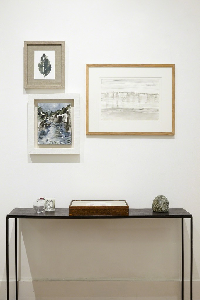 Works by Spencer Fung, clockwise from top: Small Green Leaf Study, 2016, watercolour on card, image size 24 x 15 cm.;  Jurassic Cliffs, 2016, watercolour on paper, 52 x 62 cm. ; Rock Pool II, 2017, watercolour on canvas, 43.5 x 37 cm. 