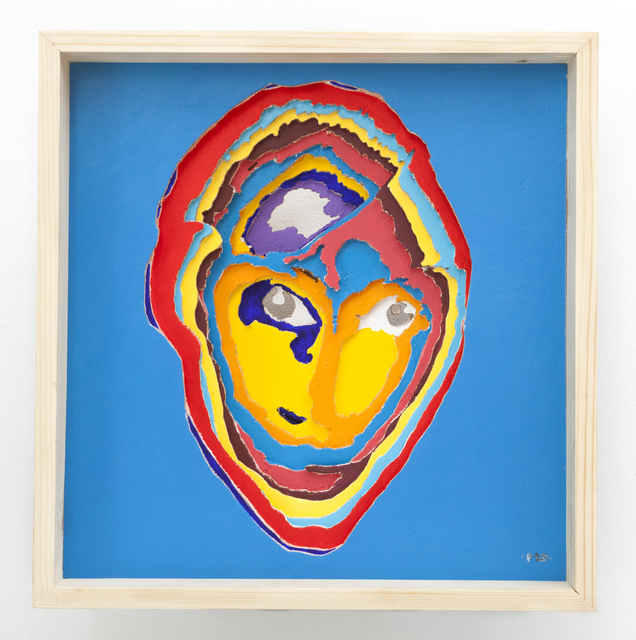 Aimé Mpane, 'La Demoiselle Pende / Masque Bi-face Picasso-Pende #20', 2014, Painting, Acrylic and mixed media on wood panel, Haines Gallery