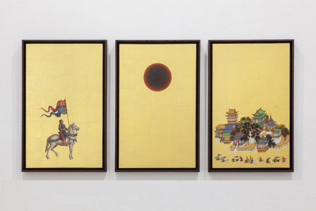Laurent Grasso, 'Studies into the Past,', n/a, Painting, Oil on gold leaf on canvas, Sean Kelly Gallery
