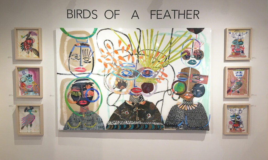 Bridge Club is surrounded by Miles Purvis shadowboxes for Birds of a Feather