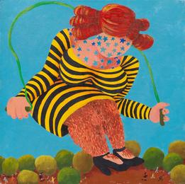Untitled (Hairy Legged, Star Tattooed Giantess in Striped Dress Skipping Rope)
