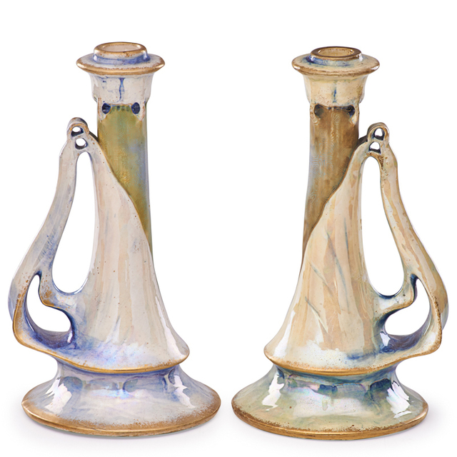 Riessner, Stellmacher & Kessel, 'Two Amphora Candlesticks, Turn-Teplitz, Bohemia', ca. 1900, Design/Decorative Art, Rago/Wright