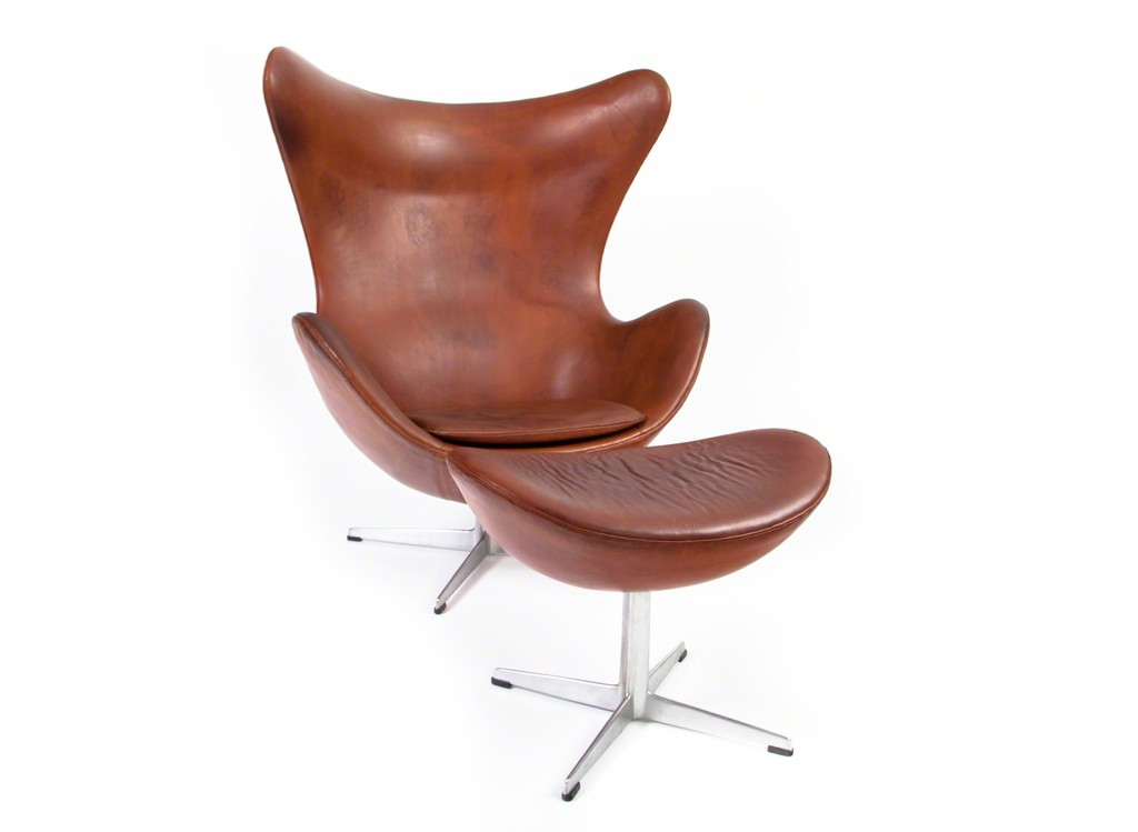 Arne Jacobsen, U0027Arne Jacobsen Egg Chair With Ottoman In Patinated Leatheru0027,  Ca