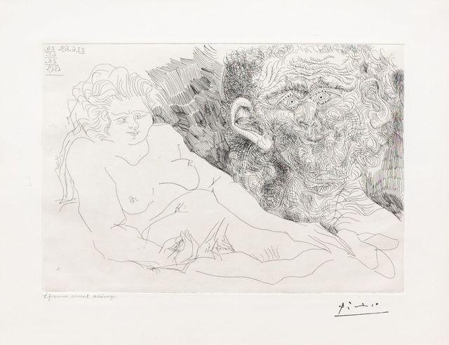 Pablo Picasso, 'Vieux Peintre et Vieux Modele, from the 156 Series', 1969, Leslie Sacks Gallery
