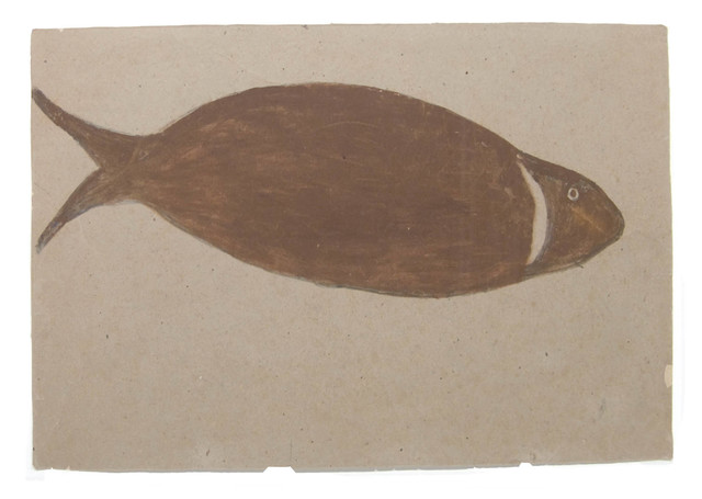 Bill Traylor, 'Big Brown River Fish', 1939-1942, Drawing, Collage or other Work on Paper, Pencil and poster paint on cardboard, Betty Cuningham