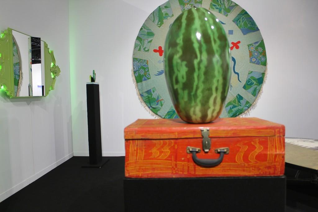 Erastudio Apartment-Gallery booth at ArtGeneve 2015. -Nanda Vigo -Ettore Sottsas -Alessandro Mendini  -Aldo Mondino -Carlo Trucchi