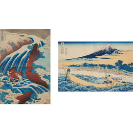Two Woodblock Prints: One from the series, Famous Waterfalls in Various Provinces, Yoshitsune Falls; and 36 Views of Mount Fuji, The coastline near Ejiri Tago on the Tokaido Road.