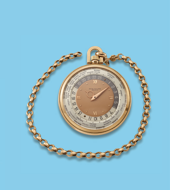 ", 'Pink gold ""Wold Time"" pocket watch,' ca. 1940, Davide Parmegiani Fine Watches"