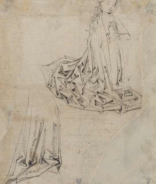 Master of the Coburg Roundels, 'Female Figure Kneeling in Prayer [verso]', ca. 1490, Drawing, Collage or other Work on Paper, Pen and black ink on antique laid paper, National Gallery of Art, Washington, D.C.
