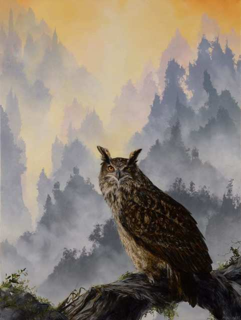 Brian Mashburn, 'Eagle Owl and Mantis', 2021, Painting, Oil on panel, Haven Gallery