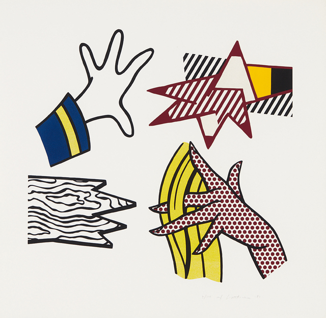 Roy Lichtenstein, 'Study of hands', 1981, Print, Lithograph and screenprint in colors, on wove paper, with full margins, Phillips