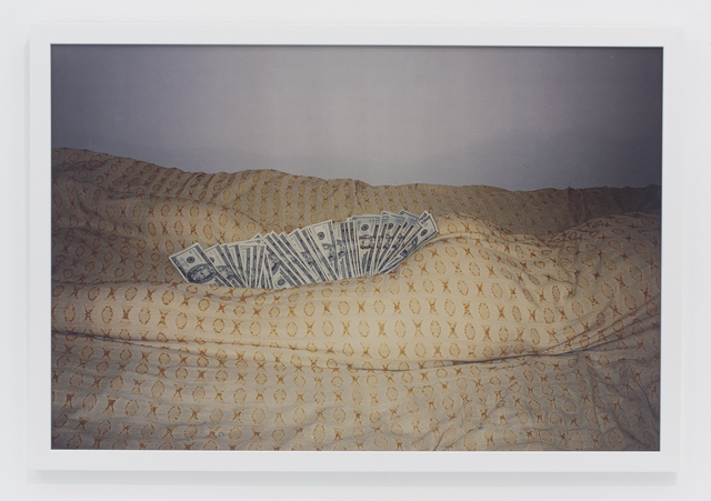 , 'Money inbetween thighs and butt off body wrapped in bedspread,' 2002, The Hole