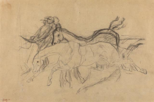 "Edgar Degas, 'Racehorses (study for ""Scene from the Steeplechase: The Fallen Jockey"")', ca. 1881, National Gallery of Art, Washington, D.C."