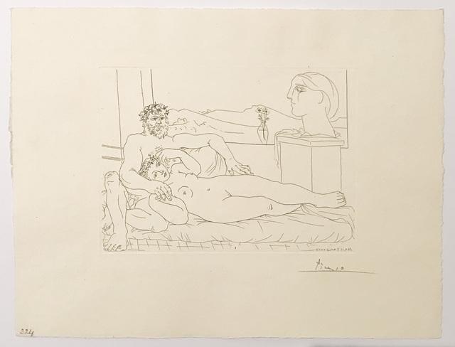 Pablo Picasso, 'Vieux Sculpteur et Jeune Modèle avec le Portrait sculpté du Modèle (S.V. 63)', 1933, Print, Etching, John Szoke