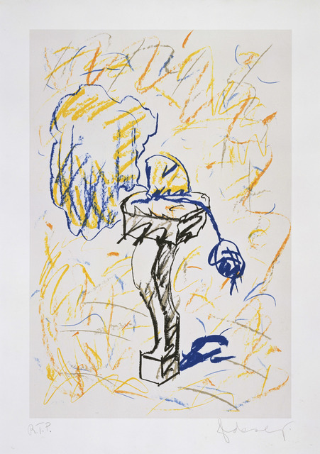 Claes Oldenburg, 'Perfume Atomizer, On A Chair Leg (line version)', 1997, Print, 6 color lithograph, 1 color screen, Gemini G.E.L.
