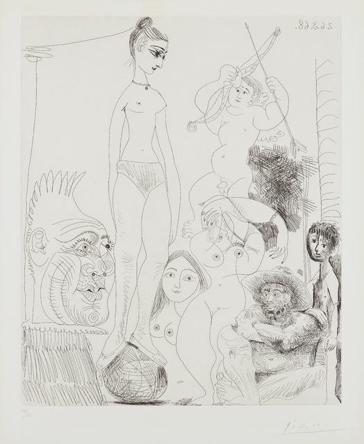 Pablo Picasso, 'Autoportrait transposé et dédoublé rêvant au cirque, avec Jacqueline en acrobate à la boule (Self-Portrait Transposed and Split Dreaming in the Circus, with Jacqueline as Acrobat on the Ball), plate 9, from 347 Series', 1968, Phillips