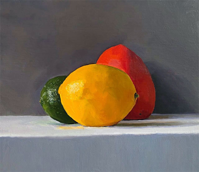Dan McCleary, 'Lime, Persimmon, and Lemon', 12.28.19, Painting, Oil on canvas, Craig Krull Gallery