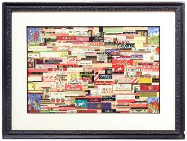 William Dole, 'Wine labels Prior to 1970s Modernist Collage Assemblage with Watercolor', 20th Century, Lions Gallery