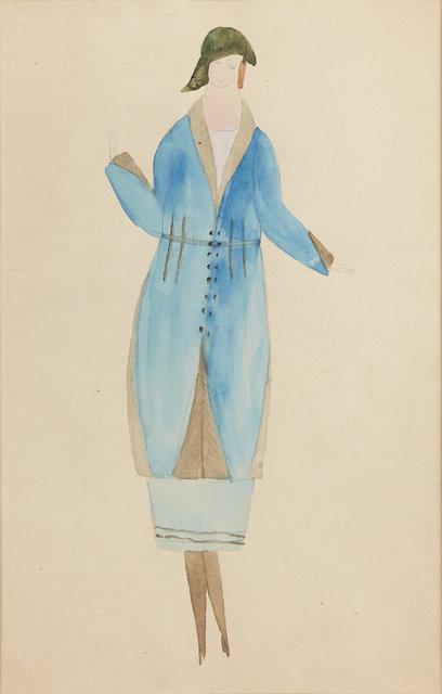 , 'Blå kappa och kjol med detaljer i grått fårskinn,' 1917-1921, CFHILL