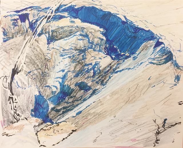 , 'Downward drawing in blue (crater),' 2017, Burning in Water
