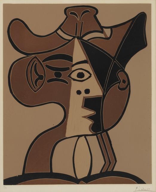 Pablo Picasso, 'Grande tête de femme au chapeau (B. 1078; Ba. 1293)', 1962, Print, Linoleum cut printed in colors, Sotheby's