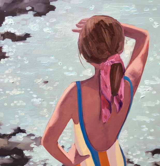"""T.S. Harris, '""""Dazzling Sea"""" oil painting of a girl in swimsuit looking out on sparkling water', 2019, Eisenhauer Gallery"""